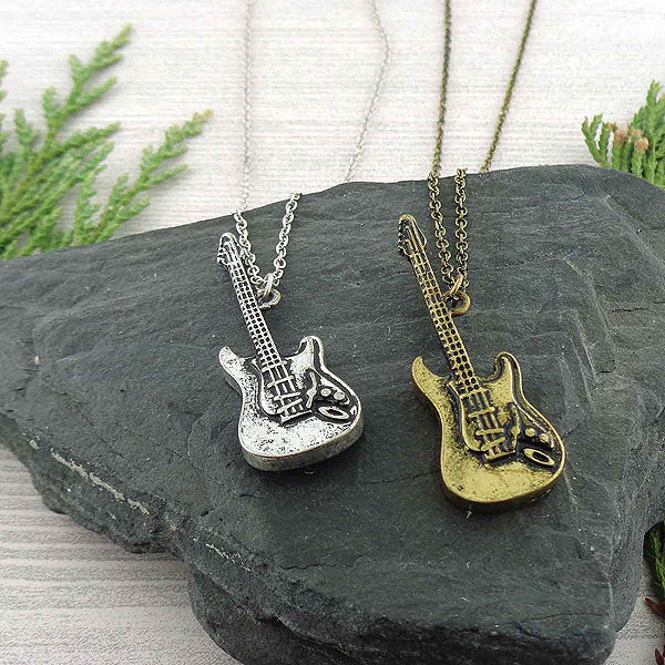 Online shopping for LAVISHY's unique, playful & affordable vintage look retro style electric guitar necklace. It's fun to wear everyday also make great gift for your family & friends. Wholesale at www.lavishy.com with many unique & fun fashion accessories to gift shop, clothing & fashion accessories boutique, book store since 2001.