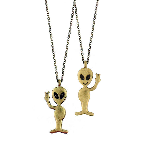 Shop LAVISHY's unique, beautiful & affordable retro style friendly grey alien necklace. A great gift for you or your girlfriend, wife, co-worker, friend & family. Wholesale available at www.lavishy.com with many unique & fun fashion accessories.