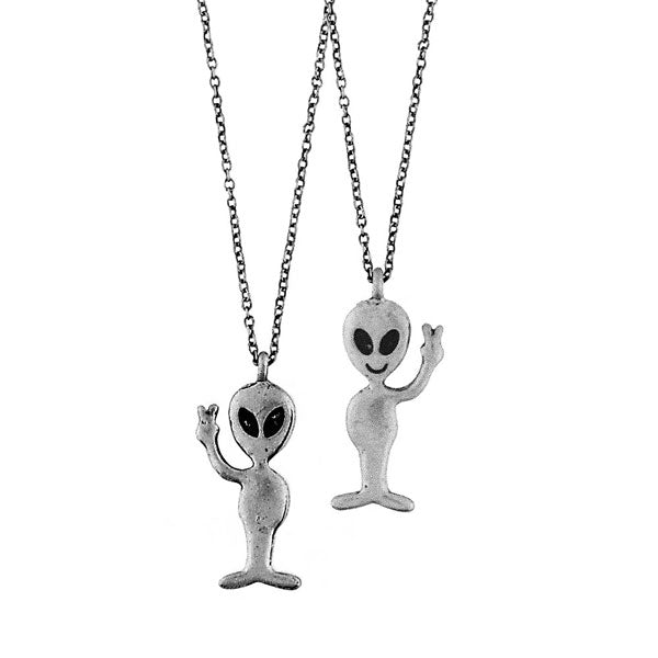 Online shopping for LAVISHY's unique, playful & affordable vintage look retro style friendly grey alien necklace. It's fun to wear everyday also make great gift for your family & friends. Wholesale at www.lavishy.com with many unique & fun fashion accessories to gift shop, clothing & fashion accessories boutique, book store since 2001.