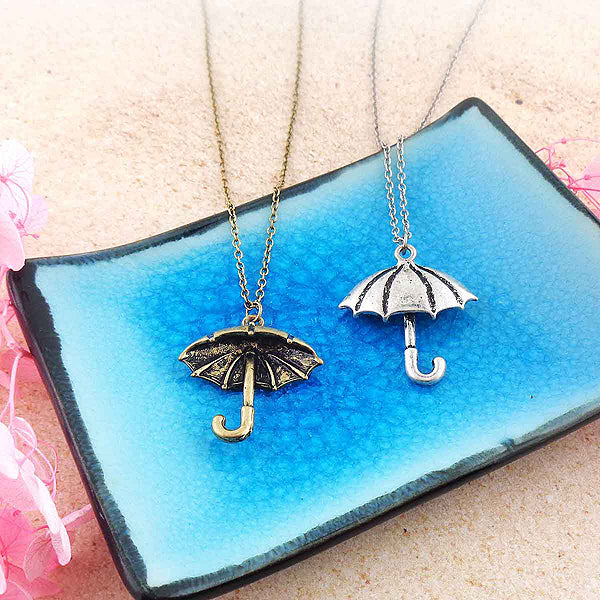 Shop LAVISHY vintage look retro style umbrella reversible pendant necklace. It's fun to wear everyday also make great gift for your family & friends. Wholesale at www.lavishy.com with many unique & fun fashion accessories to gift shop, clothing & fashion accessories boutique, book store since 2001.
