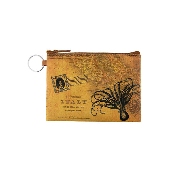 Online shopping for vegan brand LAVISHY's unisex key ring coin purse with vintage style octopus illustration on the old map background print. Great for everyday use, travel & gift for friends & family. Wholesale at www.lavishy.com for gift shops, fashion accessories & clothing boutiques, book stores worldwide since 2001.