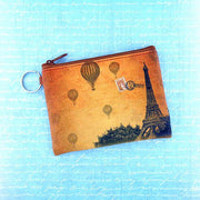 Online shopping for vegan brand LAVISHY's unisex key ring coin purse with vintage style Paris Eilffel Tower illustration on the old map background print. Great for everyday use, travel & gift for friends & family. Wholesale at www.lavishy.com for gift shops, fashion accessories & clothing boutiques, book stores worldwide since 2001.