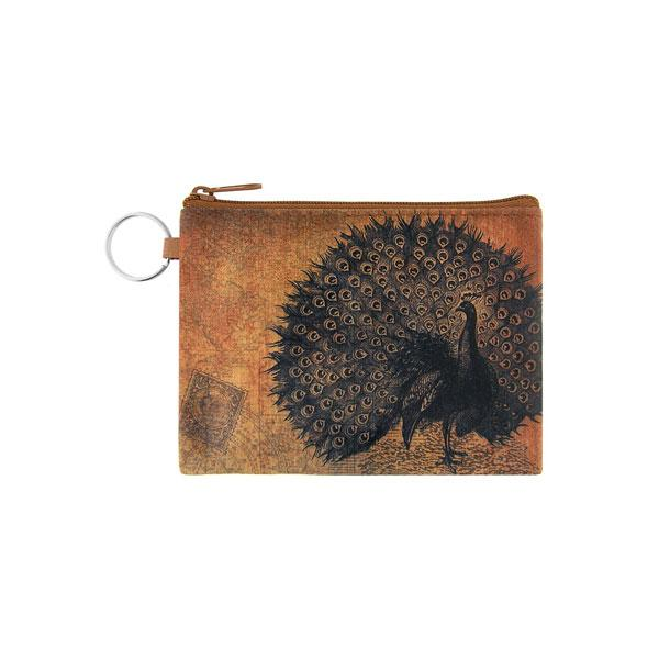 Online Online shopping for LAVISHYping for vegan brand LAVISHY's unisex key ring coin purse with vintage style peacock illustration on the old map background print. Great for everyday use, travel & gift for friends & family. Wholesale at www.lavishy.com for gift Online shopping for LAVISHYs, fashion accessories & clothing boutiques, book stores worldwide since 2001.
