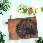 Online shopping for vegan brand LAVISHY's unisex key ring coin purse with vintage style peacock illustration on the old map background print. Great for everyday use, travel & gift for friends & family. Wholesale at www.lavishy.com for gift shops, fashion accessories & clothing boutiques, book stores worldwide since 2001.