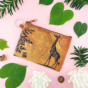 Online shopping for vegan brand LAVISHY's unisex key ring coin purse with vintage style giraffe illustration on the old map background print. Great for everyday use, travel & gift for friends & family. Wholesale at www.lavishy.com for gift shops, fashion accessories & clothing boutiques, book stores worldwide since 2001.