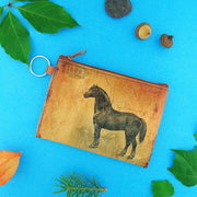 Online shopping for vegan brand LAVISHY's unisex key ring coin purse with vintage style horse illustration on the old map background print. Great for everyday use, travel & gift for friends & family. Wholesale at www.lavishy.com for gift shops, fashion accessories & clothing boutiques, book stores worldwide since 2001.