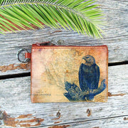 Online shopping for vegan brand LAVISHY's unisex key ring coin purse with vintage style eagel illustration on the old map background print. Great for everyday use, travel & gift for friends & family. Wholesale at www.lavishy.com for gift shops, fashion accessories & clothing boutiques, book stores worldwide since 2001.