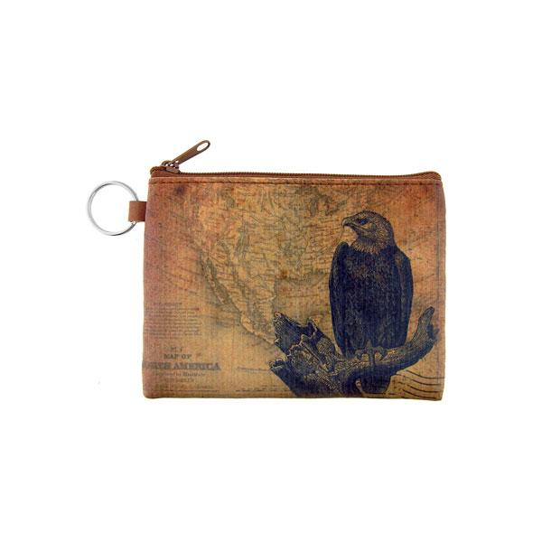 Online Online shopping for LAVISHYping for vegan brand LAVISHY's unisex key ring coin purse with vintage style eagel illustration on the old map background print. Great for everyday use, travel & gift for friends & family. Wholesale at www.lavishy.com for gift Online shopping for LAVISHYs, fashion accessories & clothing boutiques, book stores worldwide since 2001.