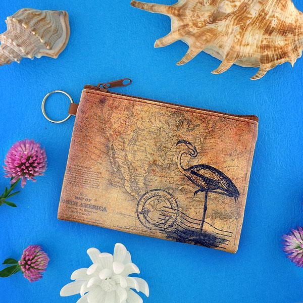 Online shopping for vegan brand LAVISHY's unisex key ring coin purse with vintage style flamingo illustration on the old map background print. Great for everyday use, travel & gift for friends & family. Wholesale at www.lavishy.com for gift shops, fashion accessories & clothing boutiques, book stores worldwide since 2001.