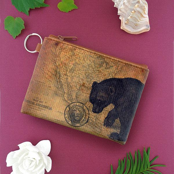 Online Online shopping for LAVISHYping for vegan brand LAVISHY's unisex key ring coin purse with vintage style bear illustration on the old map background print. Great for everyday use, travel & gift for friends & family. Wholesale at www.lavishy.com for gift Online shopping for LAVISHYs, fashion accessories & clothing boutiques, book stores worldwide since 2001.