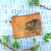 Online shopping for vegan brand LAVISHY's unisex key ring coin purse with vintage style beaver illustration on the old map background print. Great for everyday use, travel & gift for friends & family. Wholesale at www.lavishy.com for gift shops, fashion accessories & clothing boutiques, book stores worldwide since 2001.