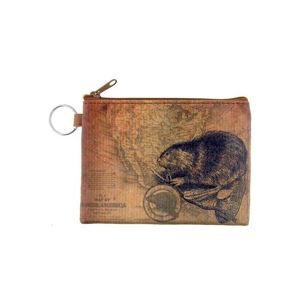 Online Online shopping for LAVISHYping for vegan brand LAVISHY's unisex key ring coin purse with vintage style beaver illustration on the old map background print. Great for everyday use, travel & gift for friends & family. Wholesale at www.lavishy.com for gift Online shopping for LAVISHYs, fashion accessories & clothing boutiques, book stores worldwide since 2001.