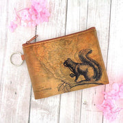 Online shopping for vegan brand LAVISHY's unisex key ring coin purse with vintage style squirrel illustration on the old map background print. Great for everyday use, travel & gift for friends & family. Wholesale at www.lavishy.com for gift shops, fashion accessories & clothing boutiques, book stores worldwide since 2001.