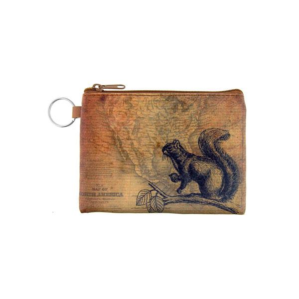 Online Online shopping for LAVISHYping for vegan brand LAVISHY's unisex key ring coin purse with vintage style squirrel illustration on the old map background print. Great for everyday use, travel & gift for friends & family. Wholesale at www.lavishy.com for gift Online shopping for LAVISHYs, fashion accessories & clothing boutiques, book stores worldwide since 2001.