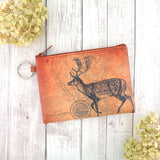 Online shopping for vegan brand LAVISHY's unisex key ring coin purse with vintage style deer illustration on the old map background print. Great for everyday use, travel & gift for friends & family. Wholesale at www.lavishy.com for gift shops, fashion accessories & clothing boutiques, book stores worldwide since 2001.