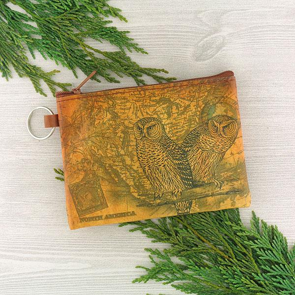 Online Online shopping for LAVISHYping for vegan brand LAVISHY's unisex key ring coin purse with vintage style snowy owl illustration on the old map background print. Great for everyday use, travel & gift for friends & family. Wholesale at www.lavishy.com for gift Online shopping for LAVISHYs, fashion accessories & clothing boutiques, book stores worldwide since 2001.