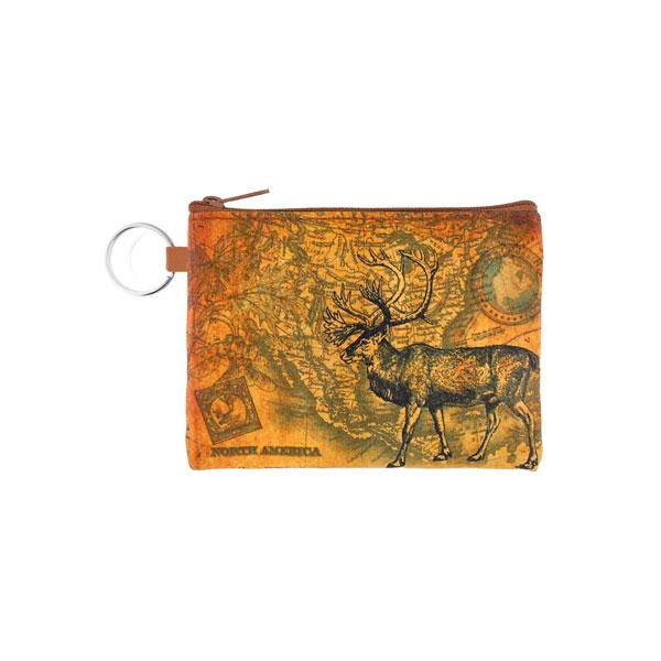 Online shopping for vegan brand LAVISHY's unisex key ring coin purse with vintage style caribou illustration on the old map background print. Great for everyday use, travel & gift for friends & family. Wholesale at www.lavishy.com for gift shops, fashion accessories & clothing boutiques, book stores worldwide since 2001.