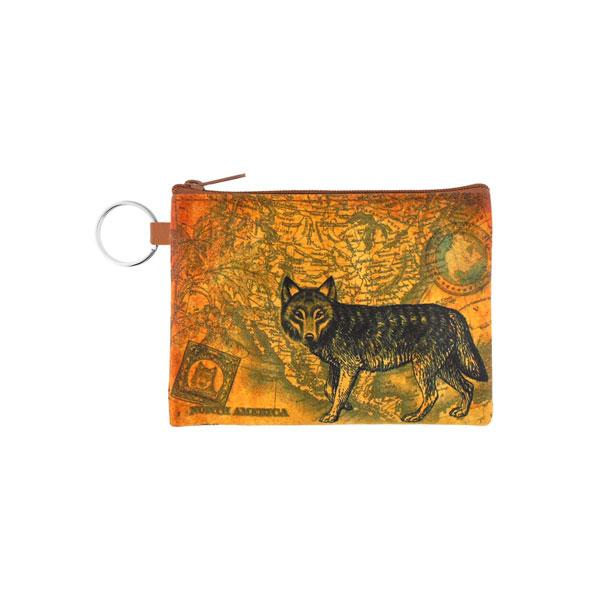 Online shopping for vegan brand LAVISHY's unisex key ring coin purse with vintage style wolf illustration on the old map background print. Great for everyday use, travel & gift for friends & family. Wholesale at www.lavishy.com for gift shops, fashion accessories & clothing boutiques, book stores worldwide since 2001.