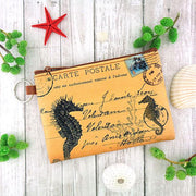 Online shopping for vegan brand LAVISHY's unisex key ring coin purse with vintage style seahorse illustration on the old map background print. Great for everyday use, travel & gift for friends & family. Wholesale at www.lavishy.com for gift shops, fashion accessories & clothing boutiques, book stores worldwide since 2001.