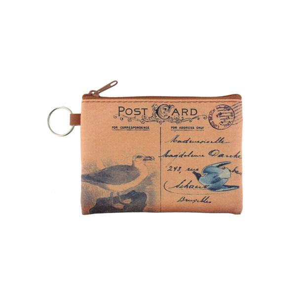 Online shopping for vegan brand LAVISHY's unisex key ring coin purse with vintage style seabird illustration on the old map background print. Great for everyday use, travel & gift for friends & family. Wholesale at www.lavishy.com for gift shops, fashion accessories & clothing boutiques, book stores worldwide since 2001.