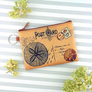 Online shopping for vegan brand LAVISHY's unisex key ring coin purse with vintage style sand dollar illustration on the old map background print. Great for everyday use, travel & gift for friends & family. Wholesale at www.lavishy.com for gift shops, fashion accessories & clothing boutiques, book stores worldwide since 2001.