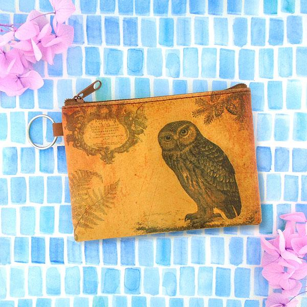 Online shopping for vegan brand LAVISHY's unisex key ring coin purse with vintage style owl illustration on the old map background print. Great for everyday use, travel & gift for friends & family. Wholesale at www.lavishy.com for gift shops, fashion accessories & clothing boutiques, book stores worldwide since 2001.