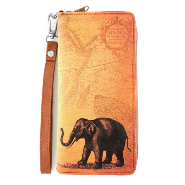 Shop PETA approved vegan brand LAVISHY's cool vegan/faux leather wristlet large wallet with vintage style elephant illustration on the old map background print. It's a great for everyday use &travel, also make a great gift for both men & women. Wholesale available at www.lavishy.com with other unique fashion accessories/souvenirs.
