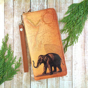 Online shopping for LAVISHYping for vegan brand LAVISHY's cool wristlet large wallet with vintage style elephant illustration on old map background print. Great for everyday use & travel. A cool gift for family & friends. Wholesale at www.lavishy.com for gift Online shopping for LAVISHYs, fashion accessories & clothing boutiques, book stores since 2001.