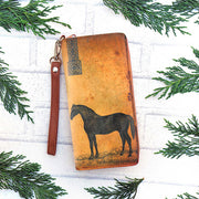 Online shopping for LAVISHYping for vegan brand LAVISHY's cool wristlet large wallet with vintage style horse illustration on old map background print. Great for everyday use & travel. A cool gift for family & friends. Wholesale at www.lavishy.com for gift Online shopping for LAVISHYs, fashion accessories & clothing boutiques, book stores since 2001.
