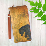 Online shopping for LAVISHY cool vegan/faux leather wristlet wallet with vintage style bear illustration on old map background print. It's a great for everyday use & gift for traveler. Wholesale available at www.lavishy.com with other unique fashion accessories/souvenirs.