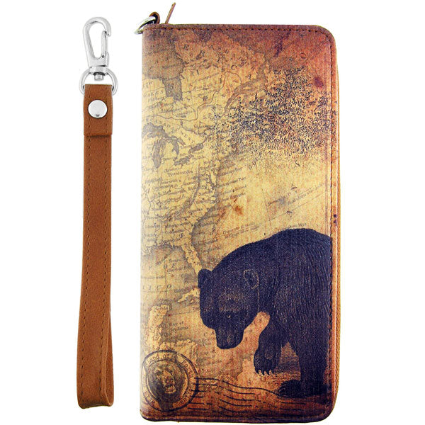 Shop PETA approved vegan brand LAVISHY's cool vegan/faux leather wristlet large wallet with vintage style bear illustration on the old map background print. It's a great for everyday use &travel, also make a great gift for both men & women. Wholesale available at www.lavishy.com with other unique fashion accessories/souvenirs.
