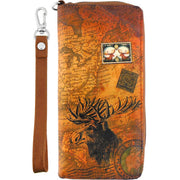 Online shopping for vegan brand LAVISHY's cool wristlet large wallet with vintage style American moose illustration on old USA map background print. Great for everyday use & travel. A cool gift for family & friends. Wholesale at www.lavishy.com for gift shops, boutiques, book stores & souvenir shops in USA since 2001.