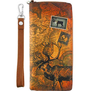 Online Online shopping for LAVISHYping for vegan brand LAVISHY's cool wristlet large wallet with vintage style American caribou illustration on old USA map background print. Great for everyday use & travel. A cool gift for family & friends. Wholesale at www.lavishy.com for gift Online shopping for LAVISHYs, boutiques, book stores & souvenir Online shopping for LAVISHYs in USA since 2001.