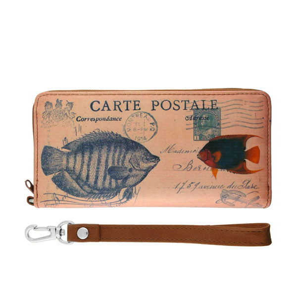 Online shopping for vegan brand LAVISHY's cool vintage postcard style fish print unisex vegan large wristlet wallet. Great for everyday use & travel. A cool gift for family & friends. Wholesale at www.lavishy.com for gift shops, fashion accessories & clothing boutiques, book stores & souvenir shops worldwide since 2001.