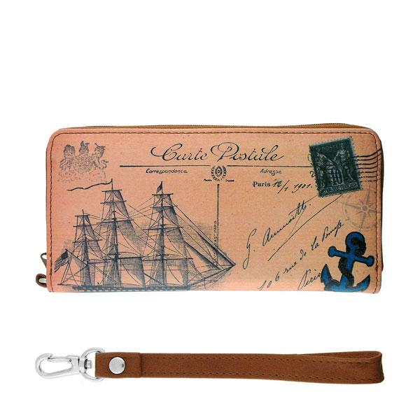 Online shopping for vegan brand LAVISHY's cool vintage postcard style boat print unisex vegan large wristlet wallet. Great for everyday use & travel. A cool gift for family & friends. Wholesale at www.lavishy.com for gift shops, fashion accessories & clothing boutiques, book stores & souvenir shops worldwide since 2001.