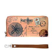 Online shopping for vegan brand LAVISHY's cool vintage postcard style sand dollar print unisex vegan large wristlet wallet. Great for everyday use & travel. A cool gift for family & friends. Wholesale at www.lavishy.com for gift shops, fashion accessories & clothing boutiques, book stores & souvenir shops worldwide since 2001.
