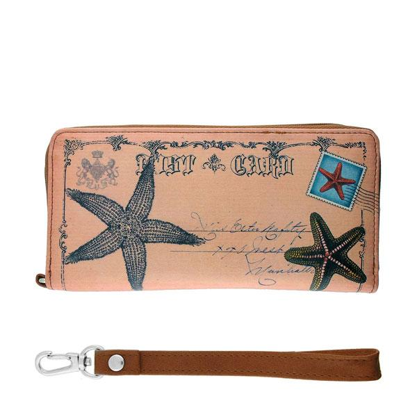 Online shopping for vegan brand LAVISHY's cool vintage postcard style starfish print unisex vegan large wristlet wallet. Great for everyday use & travel. A cool gift for family & friends. Wholesale at www.lavishy.com for gift shops, fashion accessories & clothing boutiques, book stores & souvenir shops worldwide since 2001.