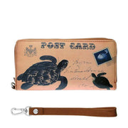 Online shopping for vegan brand LAVISHY's cool vintage postcard style sea turtle print unisex vegan large wristlet wallet. Great for everyday use & travel. A cool gift for family & friends. Wholesale at www.lavishy.com for gift shops, fashion accessories & clothing boutiques, book stores & souvenir shops worldwide since 2001.