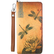 Online Online shopping for LAVISHYping for vegan brand LAVISHY's cool wristlet large wallet with vintage style dragonfly & lotus flower illustration on old Kraft paper background print. Great for everyday use & travel. A cool gift for family & friends. Wholesale at www.lavishy.com for gift Online shopping for LAVISHY, fashion accessories & clothing boutique, book store since 2001.