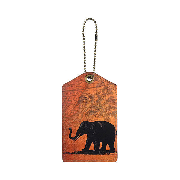 Online shopping for LAVISHY vegan brand LAVISHY's cool unisex vegan/faux leather  luggage tag with vintage style elephant print. It's a great gift idea for you or your friends, co-worker & family. Wholesale available at www.lavishy.com