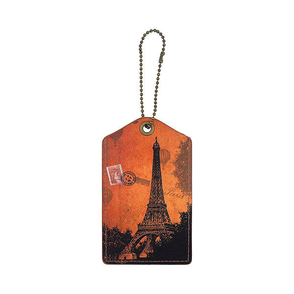 Shop vegan brand LAVISHY's cool unisex vegan/faux leather  luggage tag with vintage style Paris Eiffel Tower print. It's a great gift idea for you or your friends, co-worker & family. Wholesale available at www.lavishy.com