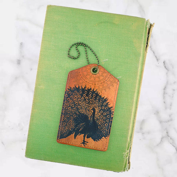 8-409: Peacock vegan luggage tag