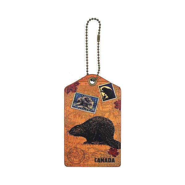 Shop vegan brand LAVISHY's cool unisex vegan/faux leather  luggage tag with vintage style beaver print. It's a great gift idea for you or your friends, co-worker & family. Wholesale available at www.lavishy.com