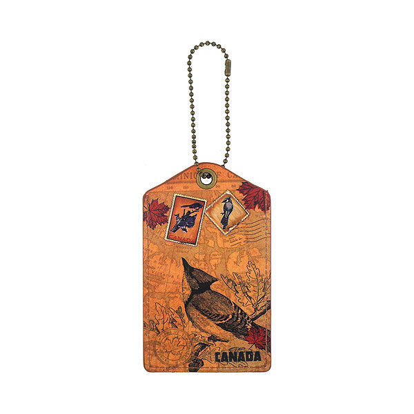 Online shopping for LAVISHY vegan brand LAVISHY's cool unisex vegan/faux leather  luggage tag with vintage style cardinal print. It's a great gift idea for you or your friends, co-worker & family. Wholesale available at www.lavishy.com