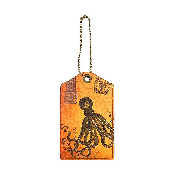 Shop vegan brand LAVISHY's cool unisex vegan/faux leather  luggage tag with vintage style octopus print. It's a great gift idea for you or your friends, co-worker & family. Wholesale available at www.lavishy.com