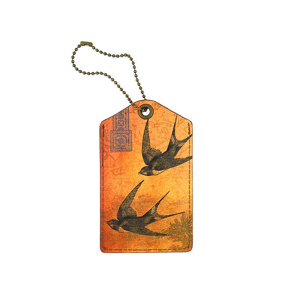 Shop vegan brand LAVISHY's cool unisex vegan/faux leather  luggage tag with vintage style swallow birds print. It's a great gift idea for you or your friends, co-worker & family. Wholesale available at www.lavishy.com