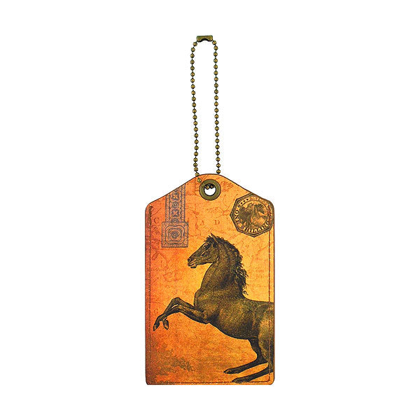 Shop vegan brand LAVISHY's cool unisex vegan/faux leather  luggage tag with vintage style horse print. It's a great gift idea for you or your friends, co-worker & family. Wholesale available at www.lavishy.com
