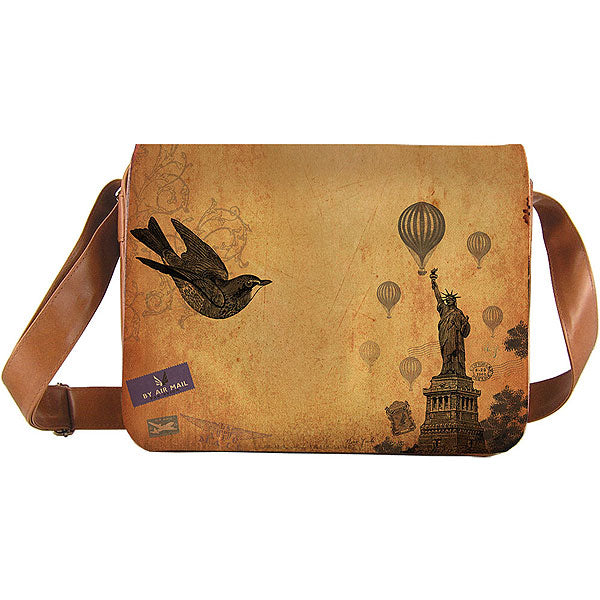 8-605: Unisex large messenger bag-New York Statue of Liberty