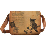 Shop PETA approved vegan brand LAVISHY's unisex vegan leather large messenger/laptop bag with vintage style owl print. A great gift idea for family & friends. More fun products for wholesale at www.lavishy.com for gift shops, fashion accessories & clothing boutiques in Canada, USA & worldwide.