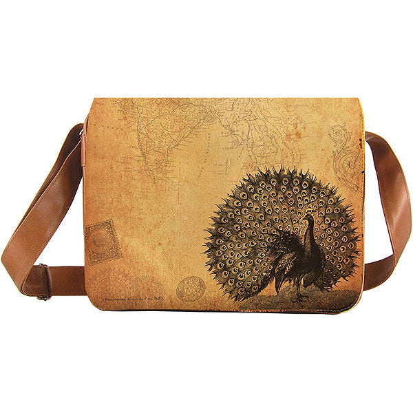 Shop vegan brand LAVISHY's unisex vegan leather large messenger/laptop bag with vintage style peacock print. A great gift idea for family & friends. More fun products for wholesale at www.lavishy.com for gift shops, fashion accessories & clothing boutiques in Canada, USA & worldwide.